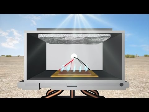 Solar-powered device collects water from desert air