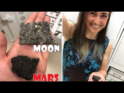 Sarah Hörst holds a Piece of the Moon and Mars in her Hand