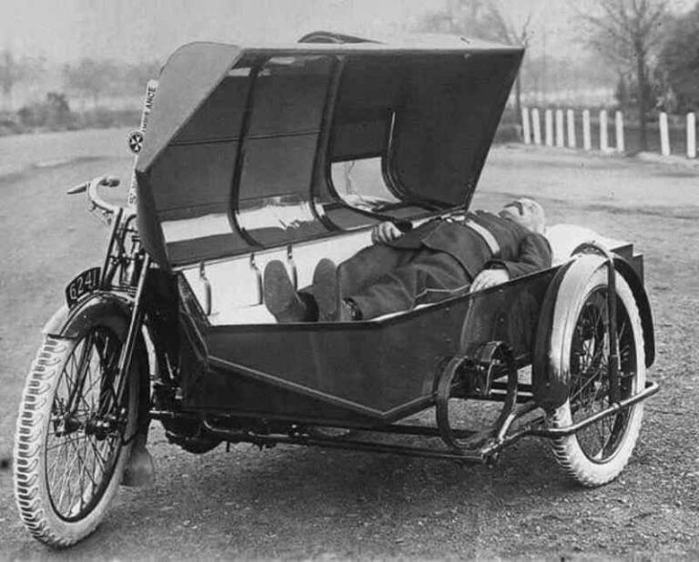 A coffin-shaped Sidecar Ambulance used by St John in the Early days