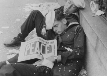Sailors Lying down after a Night of Celebration World War II's End