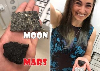 Sarah Hörst holds a Piece of the Moon and Mars in the same Hand