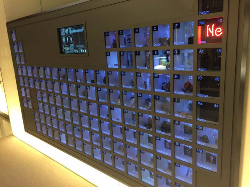 Bill Gates office has a Giant wall-mounted Periodic Table with Samples or Representations of all the Elements