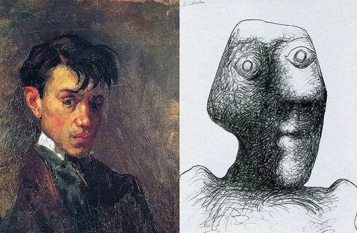 Picasso's First Self-Portrait, when he was 15, and his Last, when he was 90