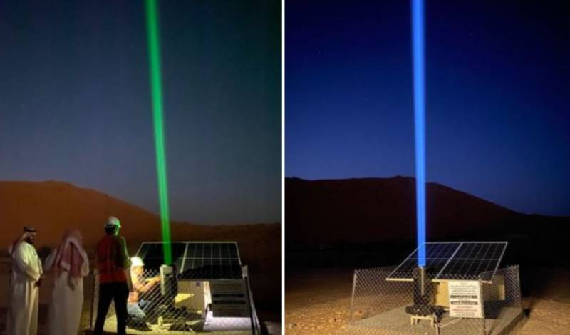 Solar-powered lasers have been installed in the Saudi desert to help in guiding the lost to water supplies